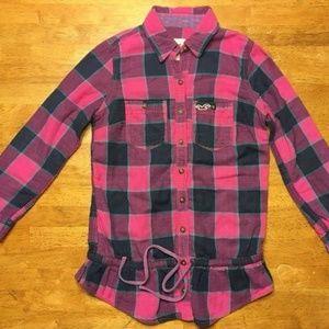 Hollister Women's Pink & Blue Dress Shirt - S: XS